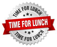 time for lunch 3d silver badge with red ribbon - stock illustration
