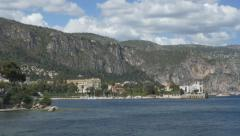 View of coast and cliffs from Saint-Jean-Cap-Ferrat. South of France. Stock Footage