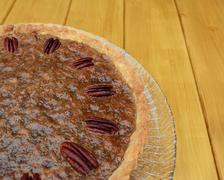 Close-up of home-made pecan pie - stock photo