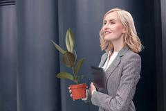 Beautiful young woman is ready to work - stock photo