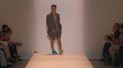 Fashion models walking on runway for Duckie Brown Collection - stock footage