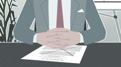 Cartoon Corporate / Businessman Facing Crisis Strock - stock footage