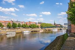 Bremen Cityscape, view from Weserburg museum - stock photo
