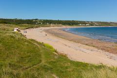 Stock Photo of Port Eynon Bay beach The Gower Wales uk popular tourist destination