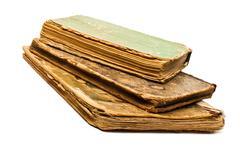 Antique old books on white - stock photo