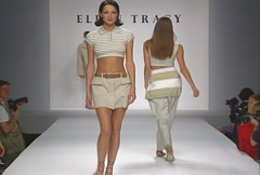Fashion models walking on runway for Ellen Tracy Collection Stock Footage