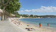 Stock Video Footage of Beach at Villefranche-sur-Mer. South of France.