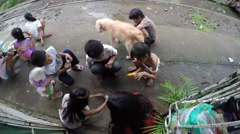Children playing round cards Stock Footage