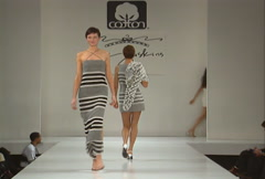 Fashion models walking on runway for Eric Gaskins Collection Stock Footage