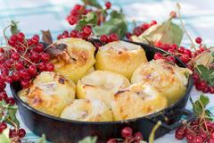 Appetizing baked apples with fresh Kalina Stock Photos