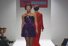 Fashion models walking on runway for Erica Maeyama Collection Stock Footage