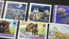 Postage stamps of different countries closeup Stock Footage