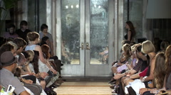 Fashion models walking on runway for Frank Tell Collection Stock Footage