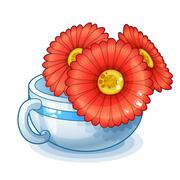 Red flowers in cup isolated on white background Stock Illustration