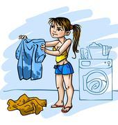 Stock Illustration of Young woman and dirty things