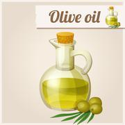 Olive oil in bottle Stock Illustration