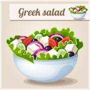 Detailed Icon. Greek salad - stock illustration