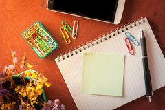 Notepad and sticky paper Stock Photos