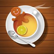 Stock Illustration of ginger bread in cup of hot lemon tea