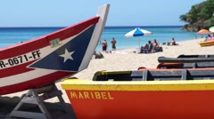 Boats On Puerto Rican Beach Stock Footage