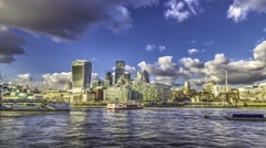 Timelapse of the City of London skyline before sunset - stock footage