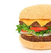 Big hamburger close-up Stock Photos