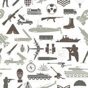 Stock Illustration of Military background. Seamless pattern. Military elements, armored vehicles