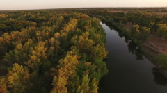 Aerial shot of river valley, Russia Stock Footage