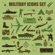 Military icon set. Constructor, kit. Stock Illustration