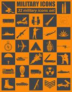 Military icon set. Constructor, kit - stock illustration