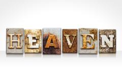 Heaven Letterpress Concept Isolated on White Stock Photos