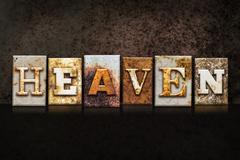 Heaven Letterpress Concept on Dark Background Stock Photos