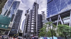 Time lapse of the LLoyd's building in the City of London Stock Footage