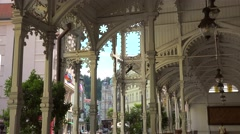 Market Colonnade. Karlovy Vary, Bohemia, Czech Republic. Stock Footage