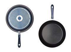 two frying pan isolated - stock photo