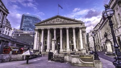 Timelapse view of the Royal exchange in London Stock Footage