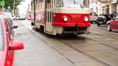Kiev, Ukraine - May 15, 2014. The movement of the tram. Stock Footage
