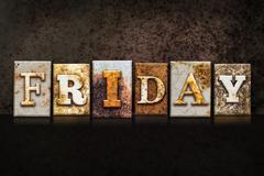 Friday Letterpress Concept on Dark Background - stock photo