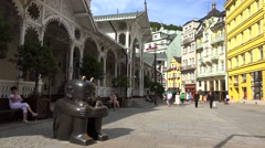 Tourists at the Market Colonnade. Karlovy Vary Stock Footage