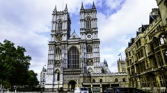 Timelapse view of Westminster abbey in London Stock Footage