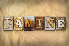 Famine Concept Rusted Metal Type - stock photo
