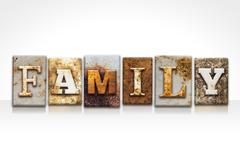 Family Letterpress Concept Isolated on White Stock Photos