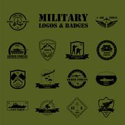 Military and armored vehicles logos and badges. Graphic template. - stock illustration