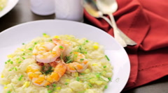 Corn Risotto with Roasted Shrimp - stock footage