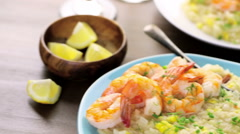 Corn Risotto with Roasted Shrimp Stock Footage