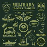 Military and armored vehicles logos and badges. Graphic template - stock illustration