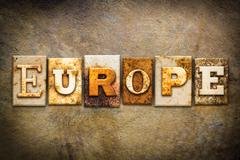 Stock Photo of Europe Concept Letterpress Leather Theme