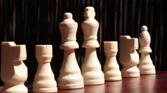 Back Pieces on Chess Board Stock Footage