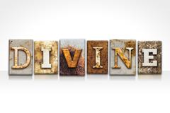 Divine Letterpress Concept Isolated on White - stock photo