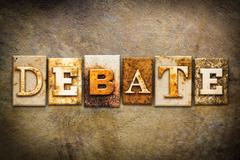 Debate Concept Letterpress Leather Theme - stock photo